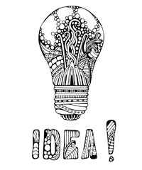 Decorative ornate hand drawn light bulb with bubbles, leaves and waves, ornate letters, idea word. Creative background for cards, posters and etc.