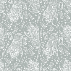 Decorative ornate hand drawn light bulb with bubbles, leaves and waves, ornate letters, idea word and dotts. Seamless pattern. Creative background