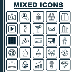 Set Of 25 Universal Editable Icons. Can Be Used For Web, Mobile And App Design. Includes Elements Such As Photo Camera, Festive Fireworks, Coins Growth And More.