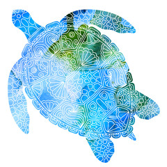 Vector abstract illustration of turtle (tortoise) silhouette with decorative ethnic ornaments with blue watercolor painted texture.