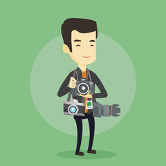 Photographer taking photo vector illustration.