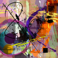 abstract background composition, with paint strokes, splashes and geometric lines