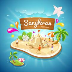 Songkran Festival summer in Thailand on blue sea background, vector illustration