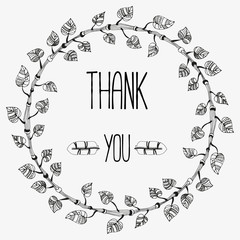 """Hand-drawn wreath with phrase """" Thank you""""."""