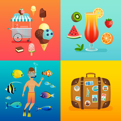 Wall Mural - Summer set with ice cream, cocktails, suitcase, snorkeling and tropical fish.
