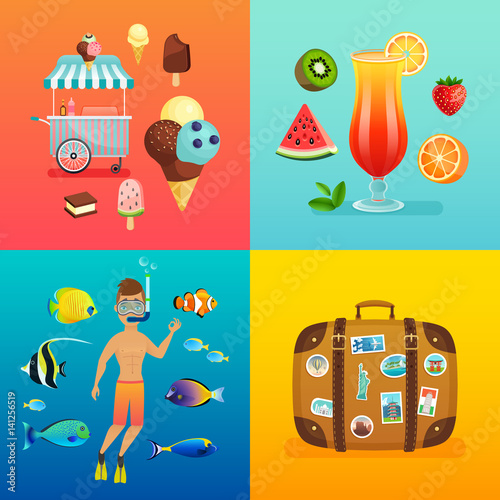 Wall mural Summer set with ice cream, cocktails, suitcase, snorkeling and tropical fish.