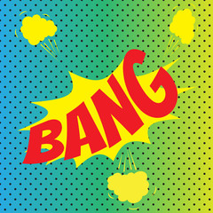 Pop art comics Bang speech bubble