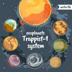 Planets Trappist-1 system colorful vector illustration