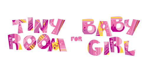 Girly style pink color birthday lettering vector illustration.