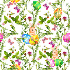 Easter bunny with colored eggs in grass, flowers, butterflies. Seamless floral easter pattern with egg hunt. Watercolor