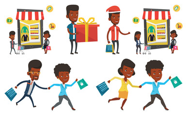 Vector set of shopping people characters.