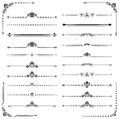 Vintage set of vector decorative elements. Horizontal separators in the frame. Collection of different ornaments. Classic pattern. Set of vintage patterns