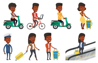 Transportation vector set with people traveling.
