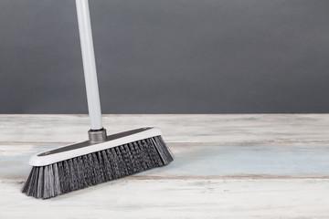Plastic Broom Gray Background Wooden Floor