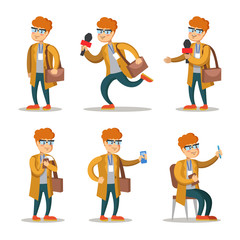 Journalist Cartoon Character Set. Man with Microphone. Vector illustration