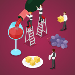 Isometric Wine Degustation with Bottle, Grape and Small Sommelier. Vector 3d flat illustration