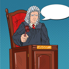 Pop Art Senior Judge in Courthouse Striking the Gavel. Law and Legal System. Vector illustration