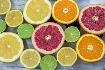 Fresh choped slices of different types of citrus