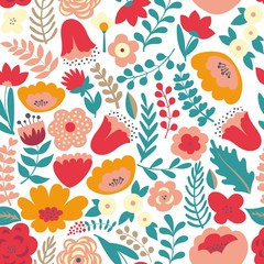 Colorful floral pattern. Seamless pattern