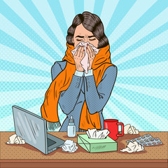 Pop Art Business Woman Sneezing at Work. Girl Feeling Sick. Vector illustration