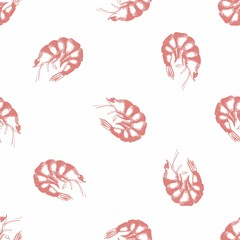Shrimp. Hand drawing. Seamless pattern