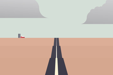 Long road leading to horizon in centre landscape vector with farm building. Minimalistic material design vector concept with flat colors.
