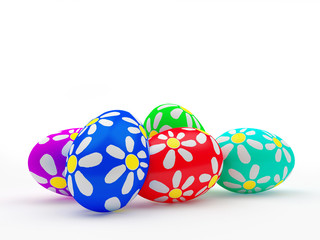 Pile of colorful handmade Easter eggs isolated on white background . 3D illustration