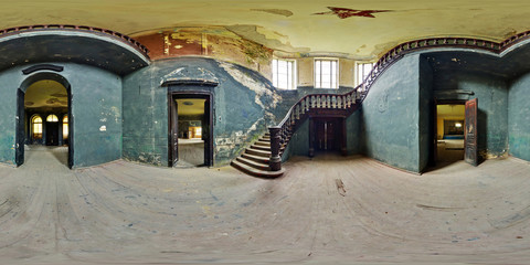Full 360 degree panorama in equirectangular spherical projection in old abandoned farmstead. Photorealistic VR content