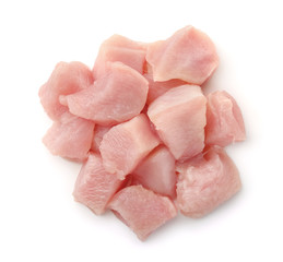 Top view of raw chicken fillet chunks