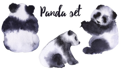 Set with panda bears. Isolated on white background.