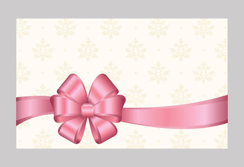 Gift certificate, Gift Card With Pink Ribbon And A Bow on  Decorative Elements  background.  Gift Voucher Template.  Vector image.