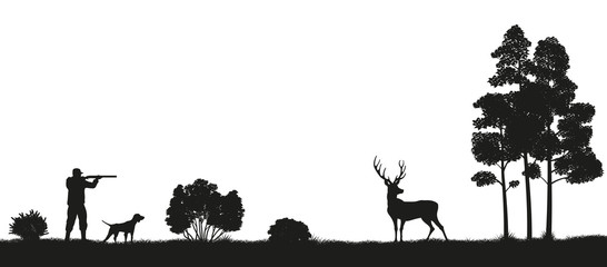 Black silhouette of a hunter and dog in the forest. Hunting for deer. Picture of wild nature