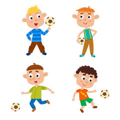 Vector illustration of little boys playing football in cartoon style