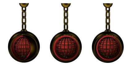 3d-Illustration,  rotierende Weltkugel in gold-metallic