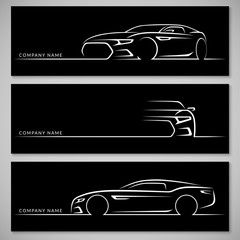 Modern sports car silhouettes. Front, three quarter and side view. Vector background