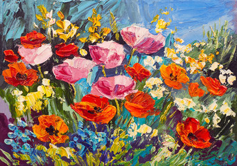 Obraz Oil painting of spring flowers on canvas, art work - fototapety do salonu