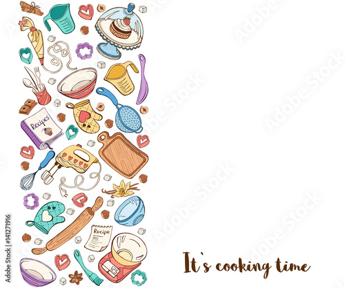 Its cooking time Baking tools in vertical stripe composition