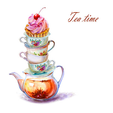 Party colorful tea cup and saucer with girl Cupcake closeup. Sketch handmade. Watercolor illustration on white background
