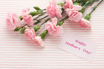 Mother's day greeting card. Bouquet of pink carnation.