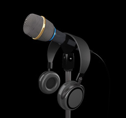 Microphone and  headphones (3d illustration).