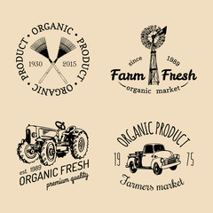 Vector set of farm fresh logotypes. Bio products badges collection. Vintage hand sketched agricultural equipment icons.