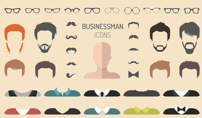 Vector set of dress up constructor with different businessman glasses, beard etc. in flat style. Male faces icon creator