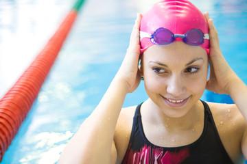 beautiful girl  at the pool