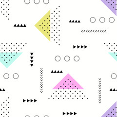 Modern seamless pattern with geometric elements. Memphis style design.