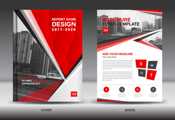 Company profile business corporate building photos royalty free red color scheme with city background business book cover design template in a4 business brochure flashek Image collections