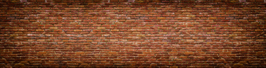 Foto op Canvas Wand grunge brick wall, old brickwork panoramic view