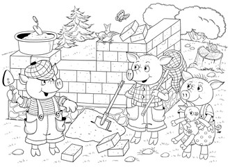 Three little pigs. Fairy tale. Illustration for children. Cute and funny cartoon characters