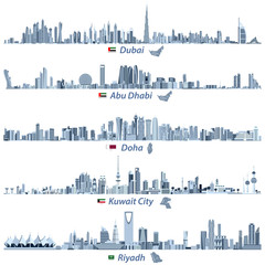 vector illustrations of Dubai, Abu Dhabi, Doha, Riyadh and Kuwait city skylines in tints of blue color palette with flags and maps of United Arab Emirates, Qatar, Kuwait and Saudi Arabia