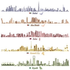 abstract vector illustrations of Dubai, Abu Dhabi, Doha, Riyadh and Kuwait city skylines in different bright color palettes with flags and maps of United Arab Emirates, Qatar, Kuwait and Saudi Arabia