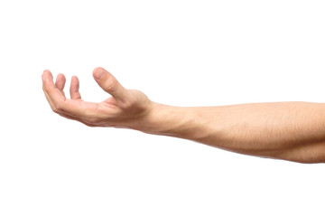 Man hand isolated. Hold, grab or catch
